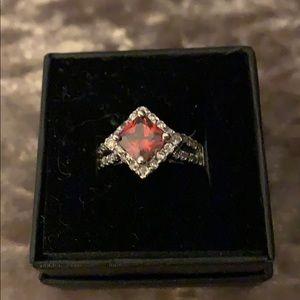Red rhinestone ring